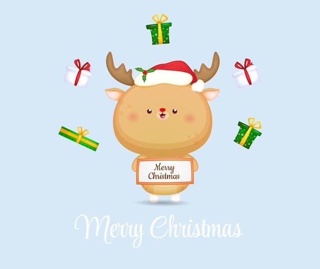 Симпатичный рождественский олень празднует счастливую рождественскую иллюстрацию premium векторы