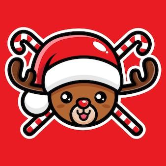 귀여운 크리스마스 순록 캐릭터 디자인