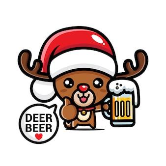 Cute christmas reindeer drinking beer
