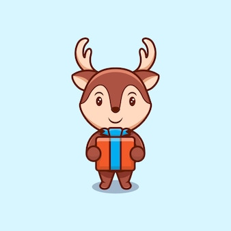 Cute christmas reindeer and gift box cartoon   icon illustration.
