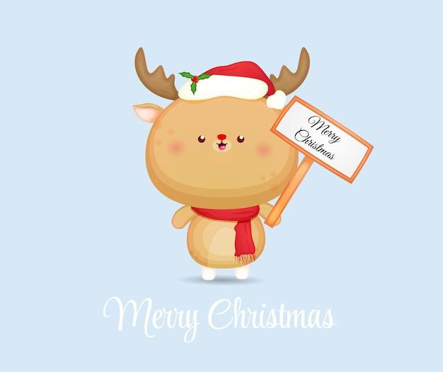 Симпатичный рождественский олень с табличкой для счастливого рождества premium векторы