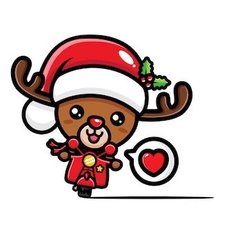 Cute christmas reindeer riding motorbike