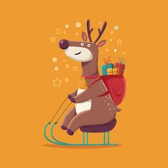 Cute christmas reindeer on sleigh vector cartoon character isolated on background.