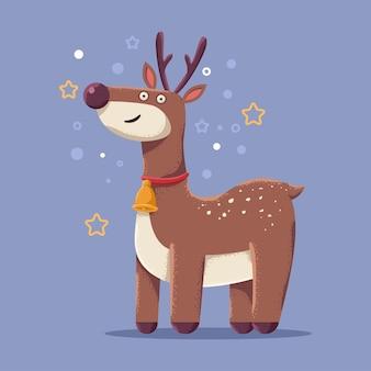 귀여운 크리스마스 순 록 벡터 만화 캐릭터 배경에 고립입니다.