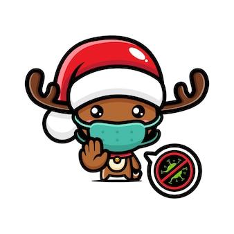 Cute christmas reindeer wearing a mask