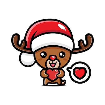 Милый рождественский олень с большой любовью