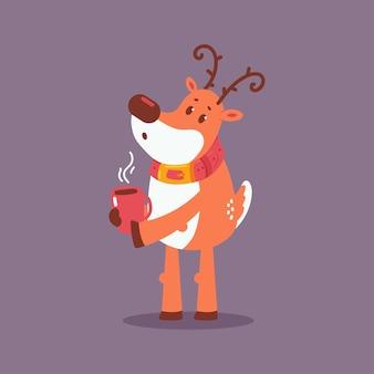배경에 고립 된 커피 컵 만화 캐릭터와 함께 귀여운 크리스마스 순 록.