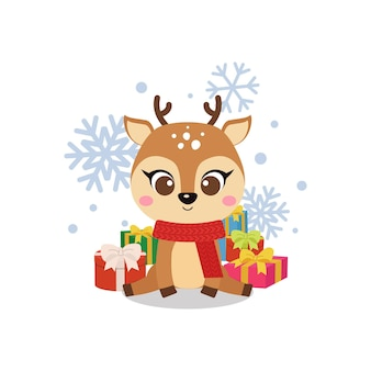 Cute christmas reindeer with pile of presents