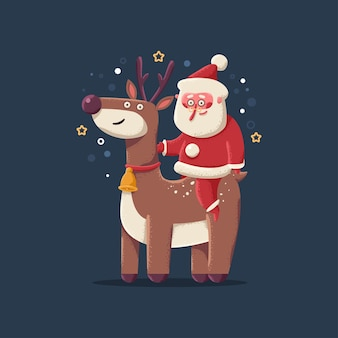 Cute christmas reindeer with santa claus vector cartoon character isolated on background.