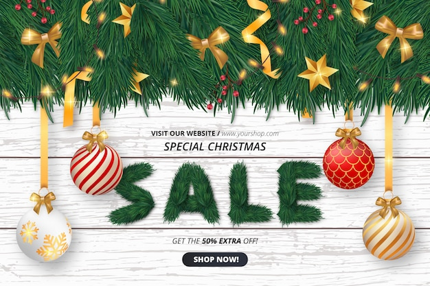 Cute christmas sale background with objects