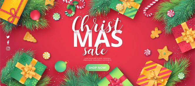 Cute christmas sale banner in red background
