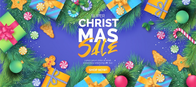Cute christmas sale banner template with gifts