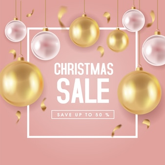 Cute christmas sale banner template