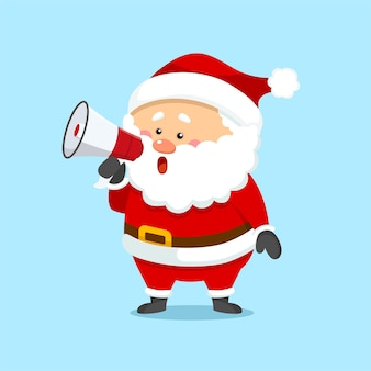 확성기를 들고 귀여운 크리스마스 산타 클로스
