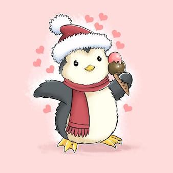 아이스크림 콘을 들고 있는 귀여운 크리스마스 산타클로스 펭귄과 이 디자인은 벡터 수채화를 사용합니다
