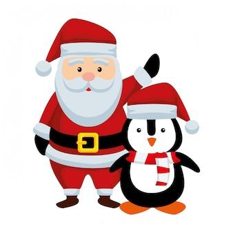 Cute christmas santa claus and penguin