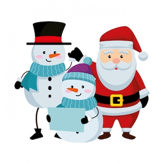 Cute christmas santa claus and snowman