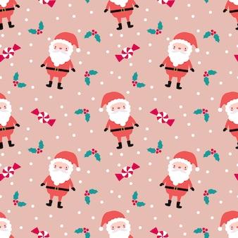 Cute christmas and santa seamless pattern.