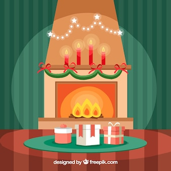 Cute christmas scene background with fireplace