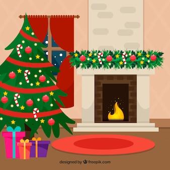 벽난로와 귀여운 크리스마스 장면 배경
