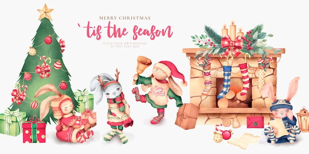 Cute christmas scene with lovely characters
