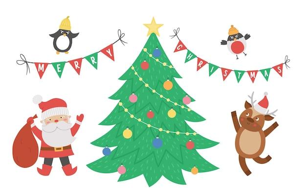 サンタクロース、鹿、モミの木の鳥と三角形の旗とかわいいクリスマスシーン。動物と冬のイラスト。面白いカードのデザイン。笑顔のキャラクターと新年のプリント