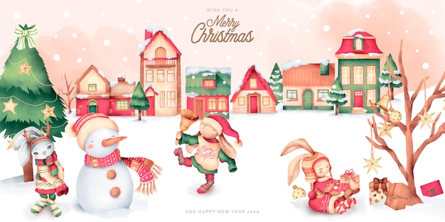 Cute christmas scene with winter town and characters