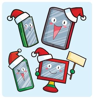 Симпатичные рождественские экранные устройства персонажей в мультяшном стиле