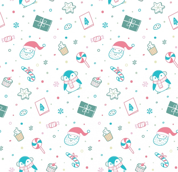 Cute christmas seamless pattern in doodle style