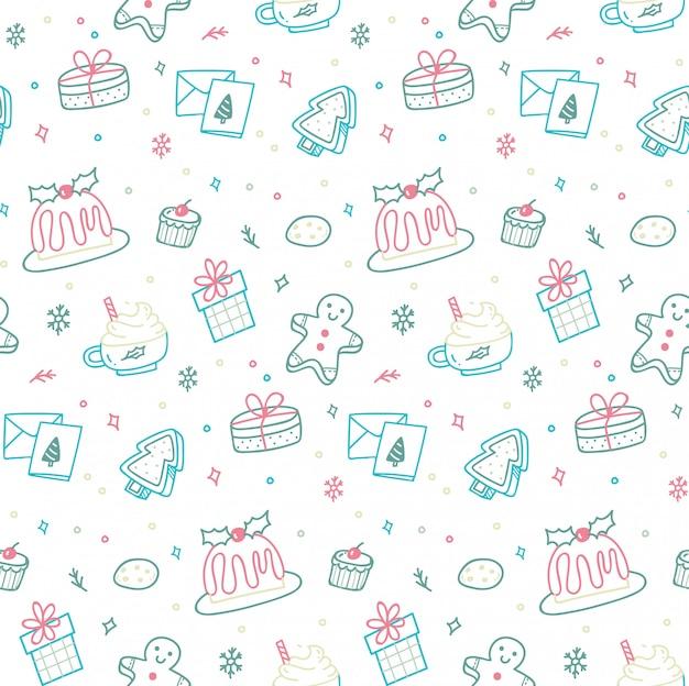 낙서 스타일에 귀여운 크리스마스 원활한 패턴