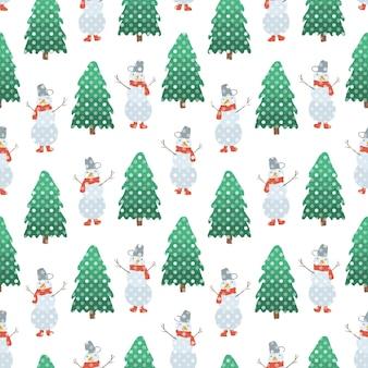 손으로 그린 눈사람과 점선 하얀 눈이 있는 녹색 전나무의 귀여운 크리스마스 원활한 패턴
