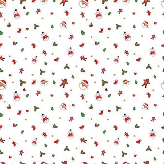 かわいいクリスマスシームレスパターンベクトル。