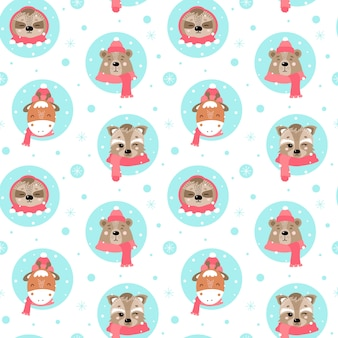 Cute christmas seamless pattern with animals