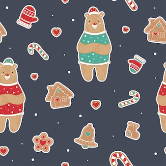 Cute christmas  seamless pattern with bear. ginger man, house, lollipop