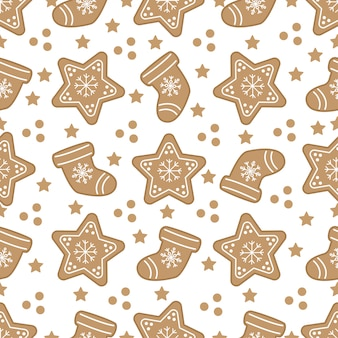 Cute christmas seamless pattern with gingerbread cookies.