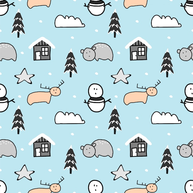Cute christmas seamless pattern with hand drawn animal