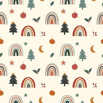 무지개와 귀여운 크리스마스 원활한 패턴