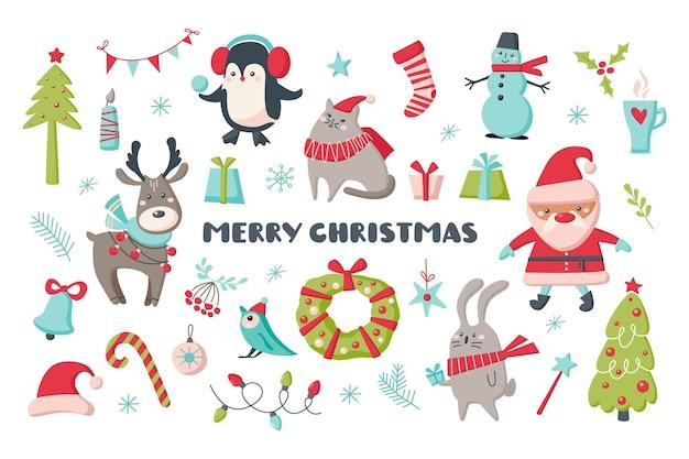 動物、サンタ、白い背景で隔離の装飾のかわいいクリスマスセット。ベクトル手描き漫画イラスト。カード、バナー、背景、プリントtシャツのデザイン