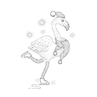 Cute christmas skating flamingo, sketch doodle bird.