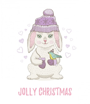 Cute christmas sketch rabbit with bird. merry xmas and new year cartoon watercolor vector illustration.