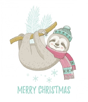 Cute christmas sloth. for greeting card or t-shirt print design.