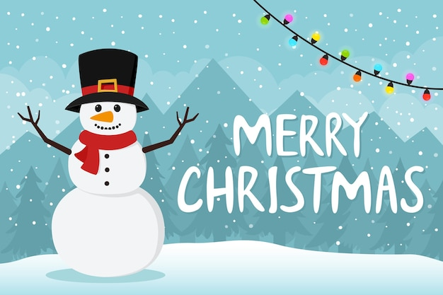Cute christmas snowman in scarf and top hat.