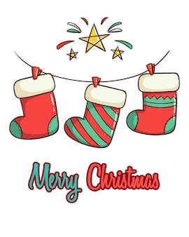Милые рождественские носки с рисованной стиль на белом фоне