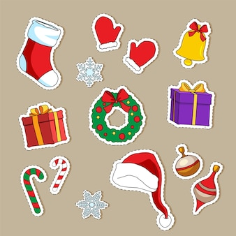 Cute christmas stickers collection and element for christmas