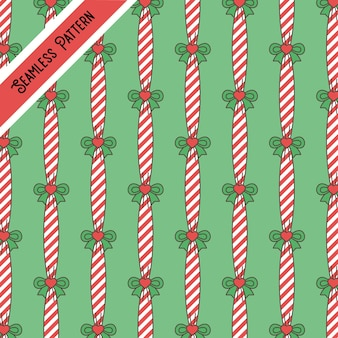 Cute christmas stripes and hearts seamless pattern