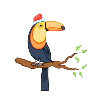 Cute christmas toucan. cartoon illustration.