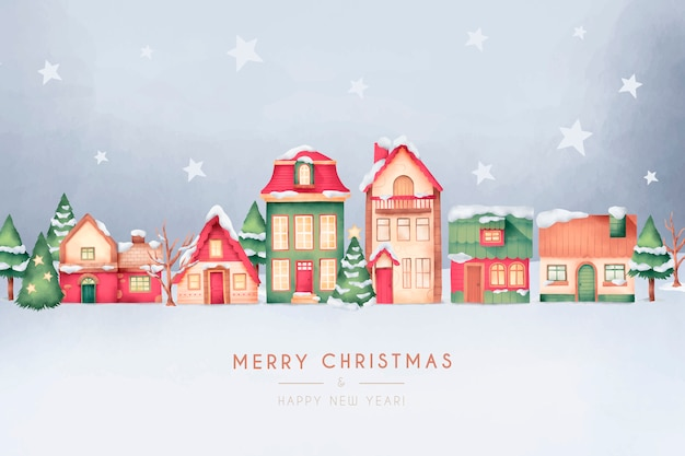 Cute christmas town card in watercolor style