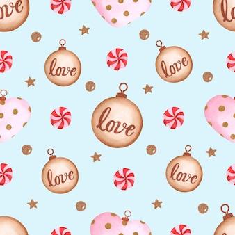 青い背景の上のかわいいクリスマスのおもちゃやキャンディー水彩シームレスパターン