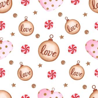 白い背景の上のかわいいクリスマスのおもちゃやキャンディー水彩シームレスパターン