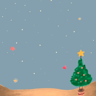 Cute christmas tree at night background